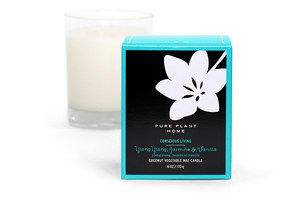 6 oz Gift Box Glass Candle Ylang Ylang/Jasmine Vanilla Coconut Wax w/real essential oils
