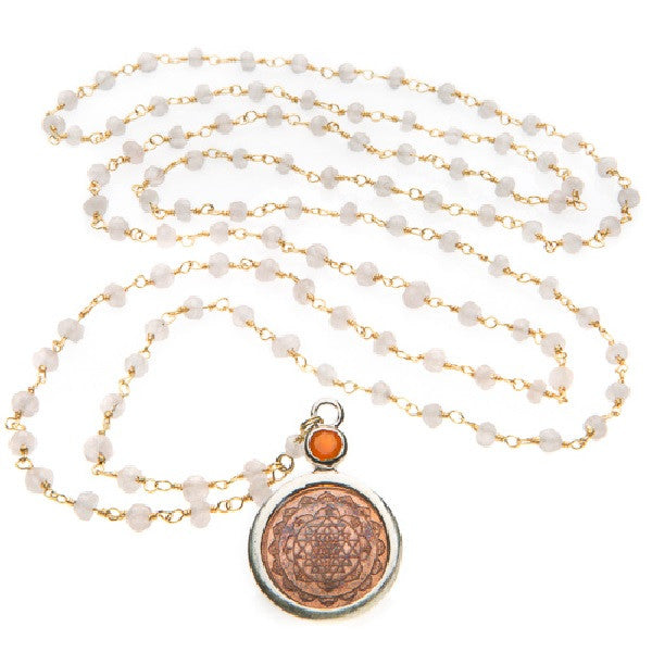 Rose Quartz Sri Yantra Necklace