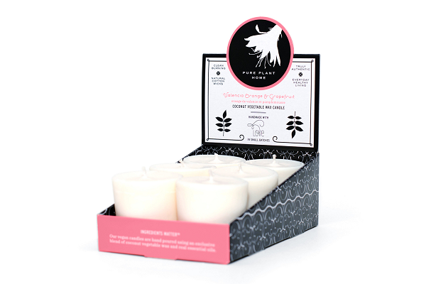 1.9 oz Votive 6 pk Valencia Orange/Grapefruit Coconut Vegetable Wax blend w/real essential oils