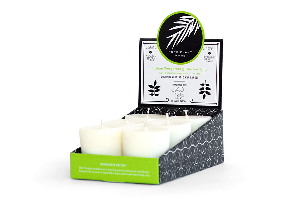 1.9 oz Votive 6 pk Italian Bergamot/Persian Lime Coconut Vegetable Wax blend w/real essential oils