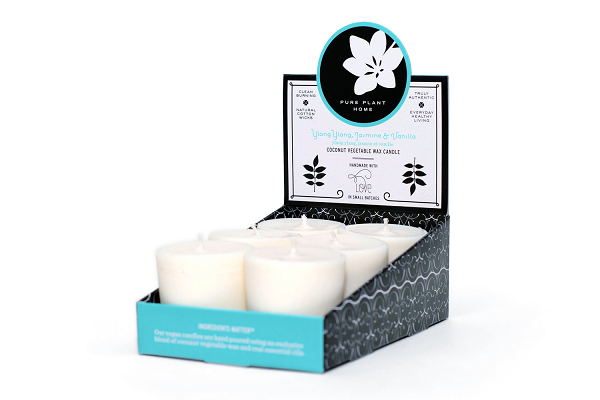 1.9 oz Votive 6 pk Ylang Ylang/Jasmine/Vanilla Coconut Vegetable Wax Blend w/real essential oils