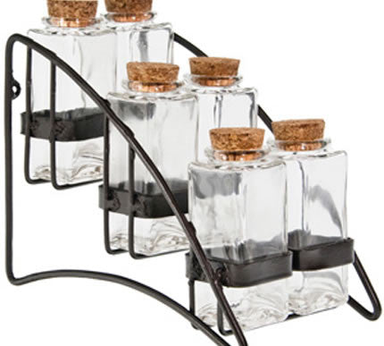Metal Spice Rack & 6 Rectangle Jars