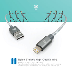 Premium High Speed Apple® MFi Certified Lightning® to USB Charge & Sync Cable, 3ft, Gray
