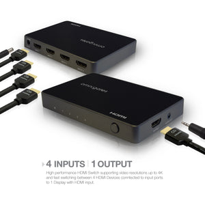 Input and Output for 4x1 HDMI Switch with audio extractor