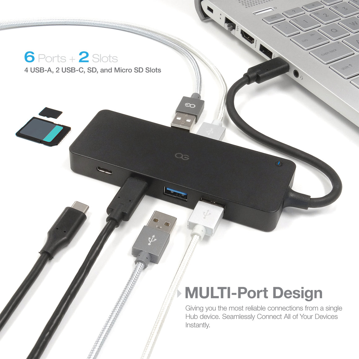 Omnigates Type-C USB Hub - 4 USB 3.0 Ports, 2 Type-C Ports, 1 SD/Micro SD Card Reader
