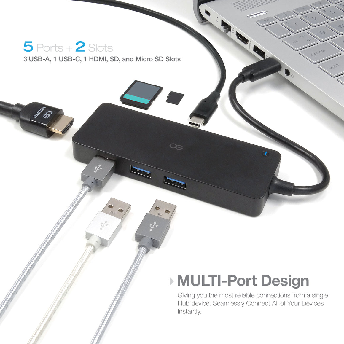 Omnigates Type-C USB Hub - 3 USB 3.0 Ports, 1 HDMI port, 1 Type-C Port with Power Delivery, & SD/Micro SD Card Reader - omnigates.com