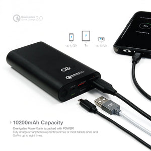 application suggestion for omnigates 10200 mAh black portable power bank charger with qualcomm quick charge 3.0