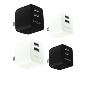 Omnigates Mach 2-Port 10.5W Wall Outlet Charger, UL listed [4Pack bundle]