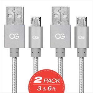 silver 2 pack Premium High Speed USB A to Micro-5Pin Sync/Charging Cable Metallic