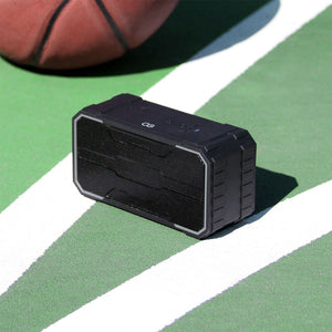 Omnigates Aeon Bluetooth Speaker BOOMbox on basketball court with basketball