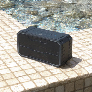 Omnigates Aeon Bluetooth Speaker BOOMbox next to a pool