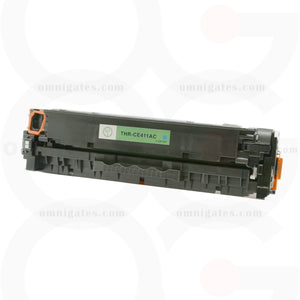 front view of cyan OGP Compatible HP CE411AC Laser Toner Cartridge