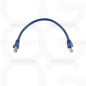 Top view of blue RJ45 CAT 6A Ethernet Network Patch Cable Gold Plated STP