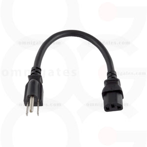 Standard AC Power PC/Monitor Cord, 14AWG, 15A 125V, NEMA5-15P/C13 Connector Cable, Black, 1 foot