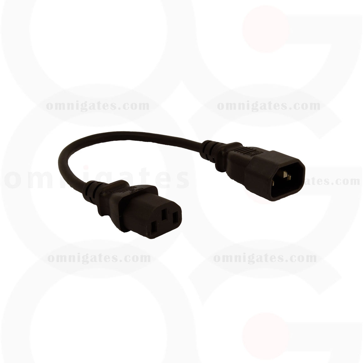 black 1 foot Power Cord Extension, PC/Monitor, 18AWG, 10A 125V, C13/C14 Connector Cable