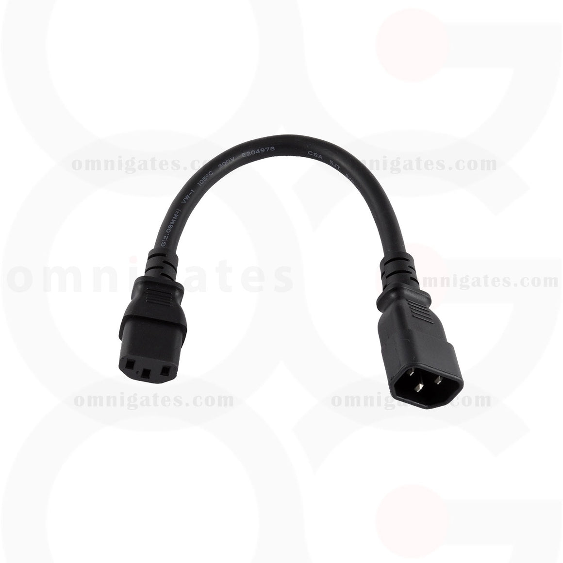 black 1 foot Power Cord Extension, PC/Monitor, 14AWG, 15A 250V, C13/C14 Connector Cable