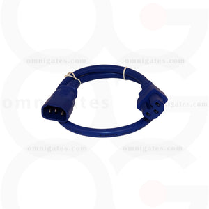 Blue 2 feet Power Cord Extension, 14AWG, SJT, 15A/250V, C14/C15 Connector cable