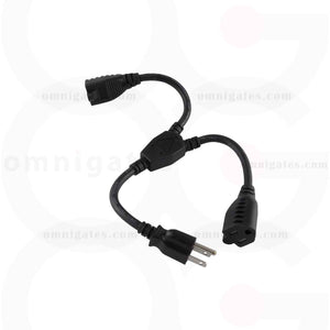 14 inch black Power Cord Splitter, NEMA 5-15P/5-15Rx2