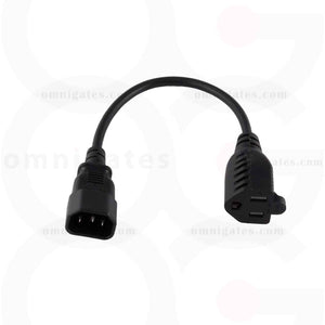 Black 1 foot AC Power Adapter Cable, 18AWG, NEMA5-15R/C14