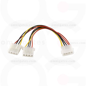 5.25 Male to 5.25 Female x2, Internal DC Y-Cable, 8 inches