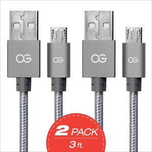 gray Premium High Speed USB A To Micro-5pin Sync/Charging Cable Metallic 2 pack