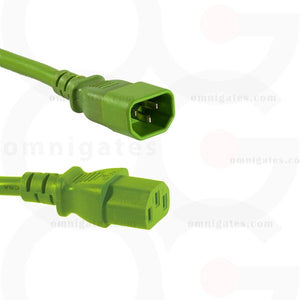 green Power Cord Extension, PC/Monitor, 18AWG, 10A 125V, C13/C14 Connector Cable