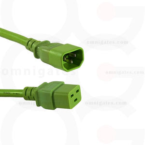 Green Power Cord Extension, 14AWG, SJT, 15A/250V, C14/C19 Connector cable