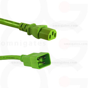 Green 3 feet Power Cord, 14 AWG, SJT, 15A/250V, C13/C20 Connector Cable