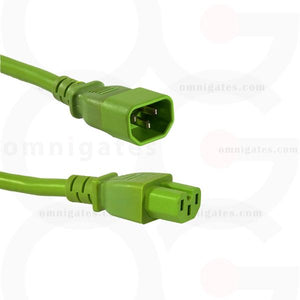 Green 2 feet Power Cord Extension, 14AWG, SJT, 15A/250V, C14/C15 Connector cable