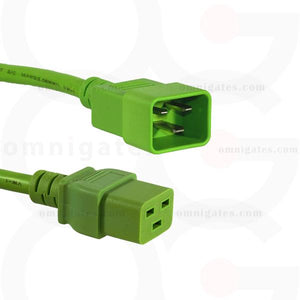 Extension Power Cord, 12AWG, SJT, 20A 250V, C19/C20 Connector Cable, green