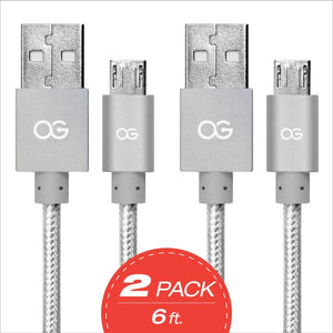 silver Premium High Speed USB A To Micro-5pin Sync/Charging Cable Metallic 2 pack
