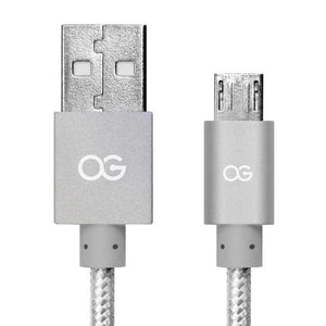 silver Premium High Speed USB A To Micro-5pin Sync/Charging Cable Metallic