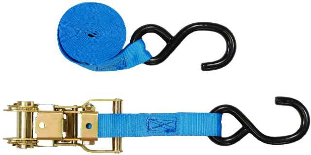"1""  Heavy Duty Ratchet Strap Tie Down with S Hooks"