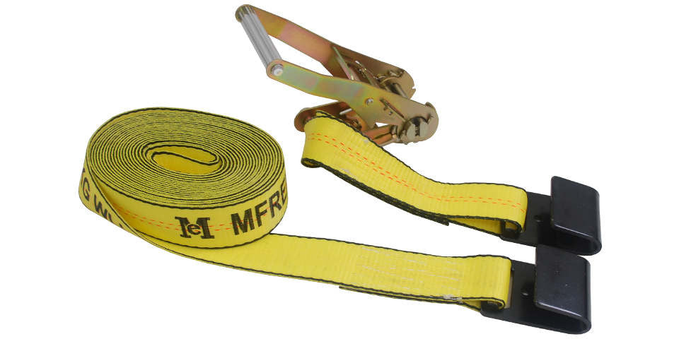 "2"" x 30' Ratchet Strap Truck Tie Down Flat Hooks - BOX of 10"