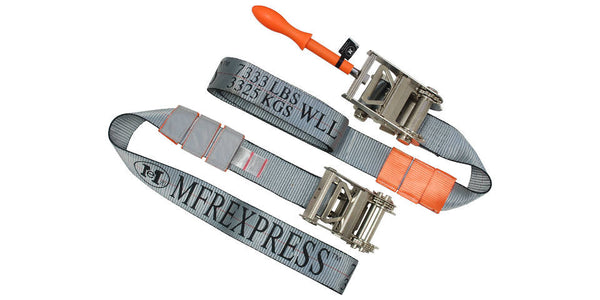 3''x 7' Nickel Plated Ratchet Underlift Straps w/ Removable Tool - Free Shipping
