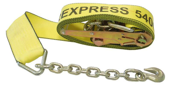 "3"" Ratchet Tie Down Strap w/ Chain Extension"