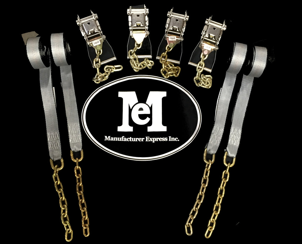 "4pc STAINLESS STEEL Long Wide Ratchets with Chain Ext. + 4pc 2""x14' Straps with Chain Ext."