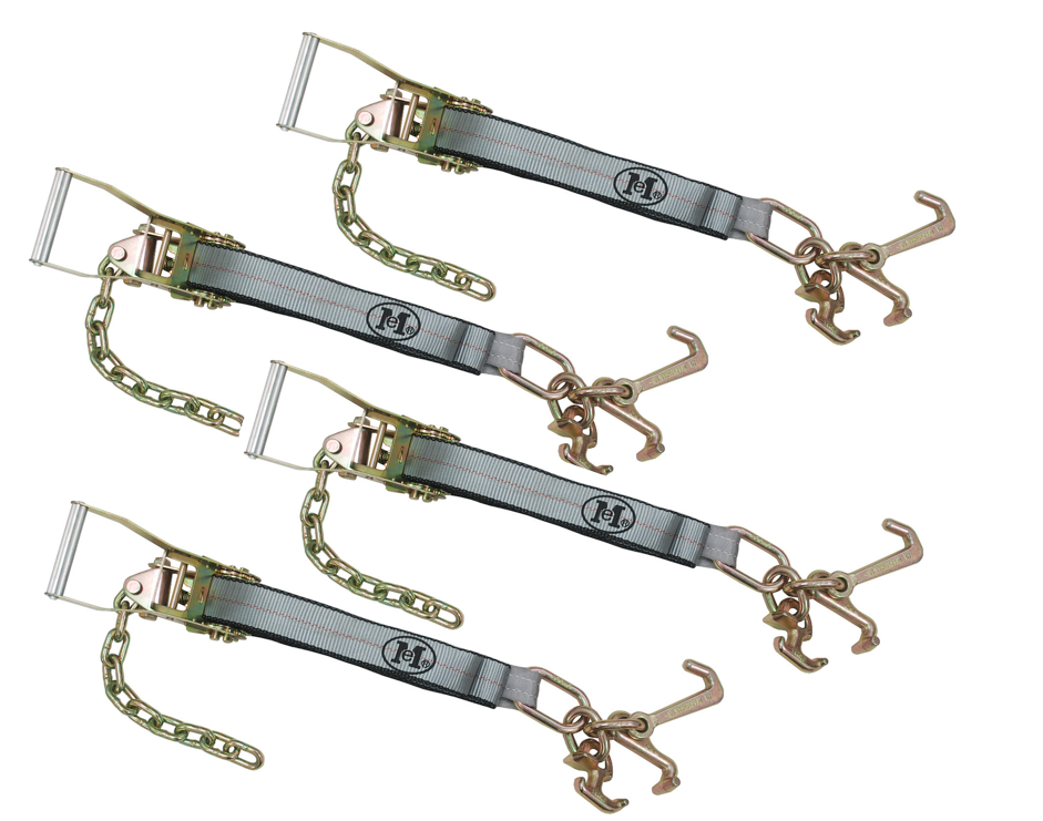 "Tie-Down Set: 4pc Long Wide Ratchets with Chain Ext. + 4pc 2"" x 8' Strap with RTJ Cluster Hook"