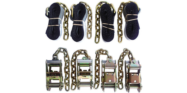 "4pc Standard Ratchets with Chain Ext. + 4pc 2""x14' Straps with Chain Ext."