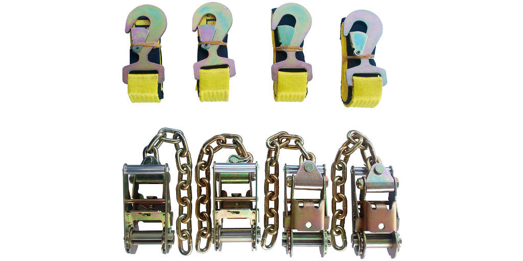 "4pc Standard Ratchets with Chain Ext. + 4pc Flat Snap Hook 2""x8' Straps"