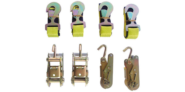 "Tie-Down Set: 4pc Standard Ratchets with Single Finger Hook + 4pc Flat Snap Hook 2""x8' Straps"