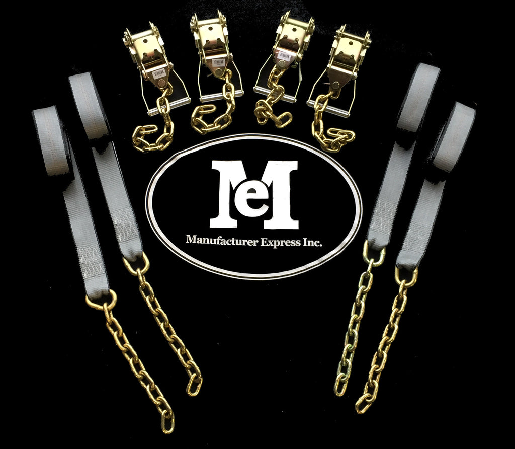 "4pc Long Handle Ratchets with Chain Ext. + 4pc 2""x14' Straps with Chain Ext."
