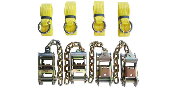 "4pc Standard Ratchets with Chain + 4pc O-Ring 2""x8' Straps"
