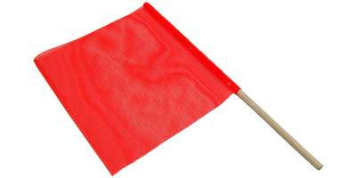 "Warning Flag 18""x18"" with Wood Stick"