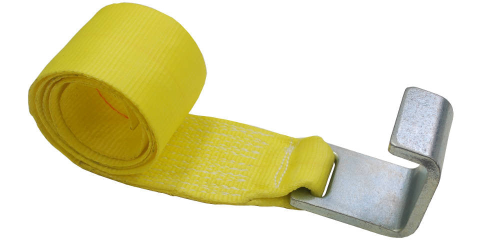 4''x5' Roll Off Container Winch Strap with an Extra Large Flat Hook
