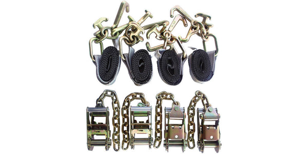 "Tie-Down Set: 4pc Standard Ratchets with Chain Ext. + 4pc 2"" x 8' Strap with RTJ Cluster Hook"