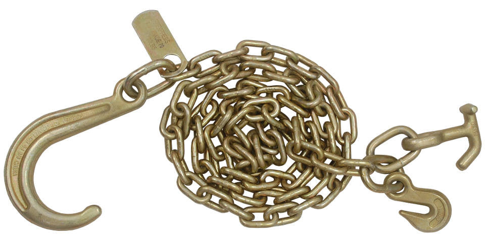 5/16'' x 8' Sport J Hook Tow Chain with T-J Hook & Grab Hook