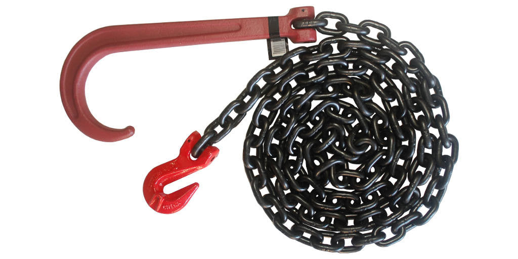 3/8''x 6FT Grade 80 Recovery Chain with Grade 80 Long J-Hook and Grab Hook