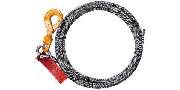 3/8'' x 75FT Steel Core IWRC Winch Cable with Self Locking Swivel Hook - Free Shipping