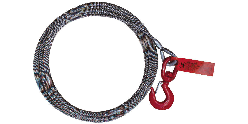 "3/8"" x 50FT Fiber Core Winch Cable with Swivel Hook Latch - Free Shipping"